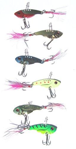 Preisvergleich Produktbild 6er Set Blinker Spinner Wobbler Metallköder mit Streamer und 2 scharfen Drillingen zum angeln auf Hecht Zander Barsch sehr gut geeignet auch zum vertikalangeln