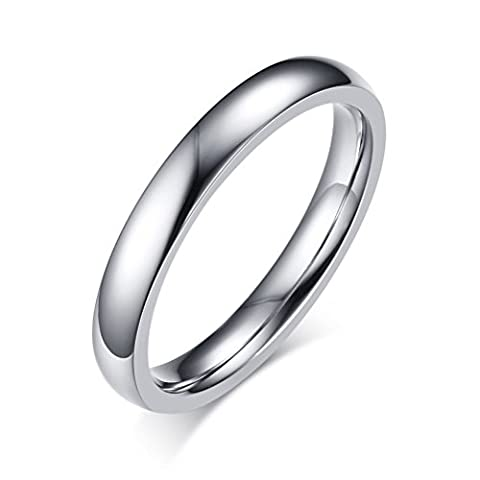 Stainless Steel Plain Band Ring for Women Wedding Engagement Promise,3mm Width,Silver,Size 6