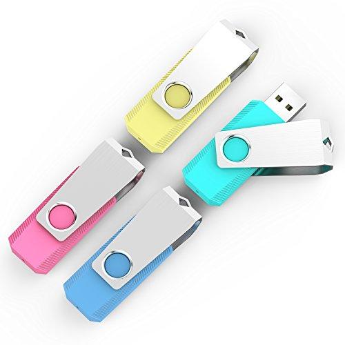 KEXIN 2GB Memoria USB 2.0. Pendrive [4 Unidades ] Color de Rojo,Amarillo,Verde,Azul