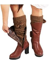 Fami Les femmes d'hiver chaudes chaussettes tricotées, Long Crochet Jambières
