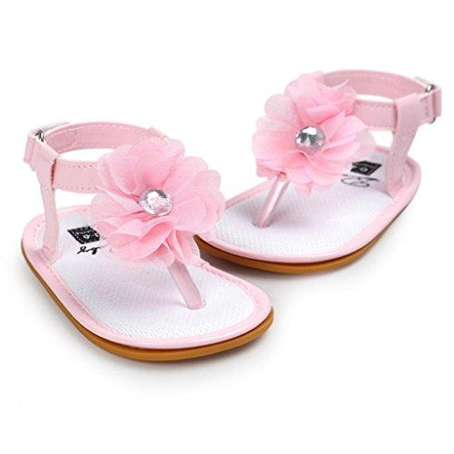 Chaussures de bébé,Transer ® Bébé 0-18 mois fille fleur perle sandales princesse première Walking Shoes Rose
