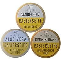 3er Set Haslinger Rasierseife, Sandelholz, Ringelblume, Aloe Vera inklusive Rasierklingen Checkliste