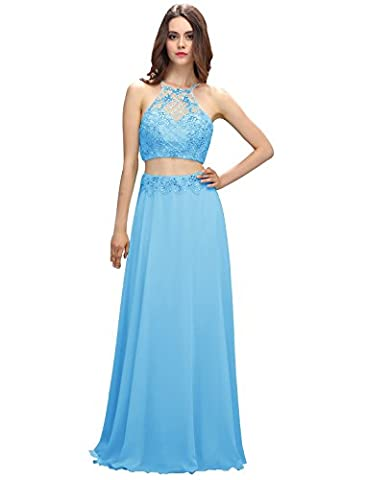 Dressystar Floor Length Two Piece Prom Dresses Chiffon Beading Evening Gowns Size 6 Blue