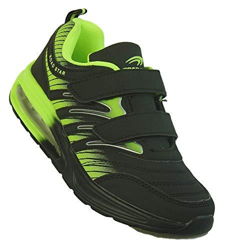 Bootsland Unisex Klett Sportschuhe Sneaker Turnschuhe Freizeitschuhe 001, Schuhgröße:39, Farbe:Schwarz/Grün