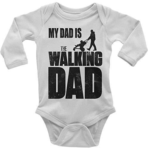Mikalino Babybody mit Spruch für Jungen Mädchen Unisex Langarm My Dad is The Walking Dad | handbedruckt in Deutschland | Handmade with Love, Farbe:Weiss, ()