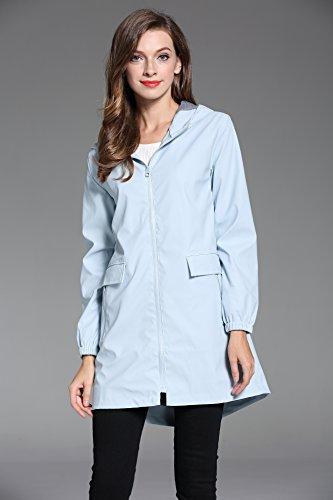 MILEEO Femmes Vêtements Veste Imperméable Raincoats Avec Capuche Manteau Imperméable Veste De Pluie De Plein Air Blau