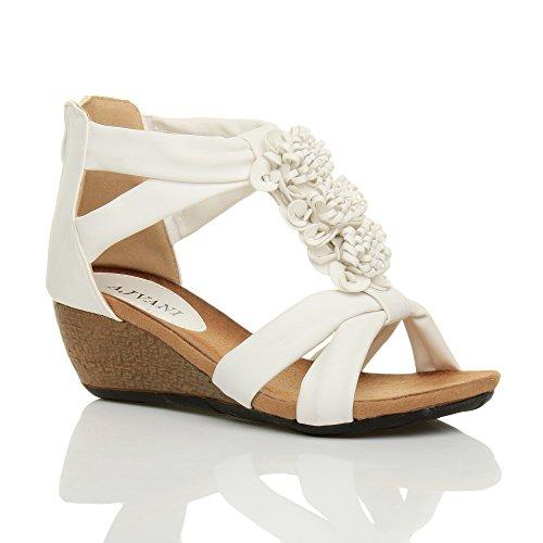 Donna tacco zeppa medio peep toe T Bar fiore con cinturino sandalo scarpa numero Bianco opaco