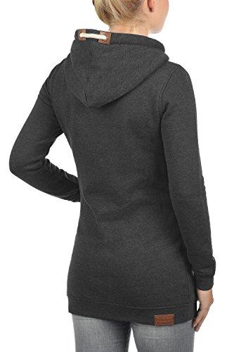 DESIRES Vicky Hood-Long Damen Kapuzenpullover Lang Hoodie Sweatshirt Sweat-Kleid mit Kapuze und optionalem Teddy-Futter aus hochwertiger Baumwollmischung Dark Grey mit Teddy-Futter