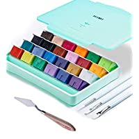 AOOK HIMI Gouache Paint Set Jelly Cup 24 Vibrant Colors Non Toxic Paints with Portable Case Palette for Artist Canvas Painting Watercolor Papers, Rich Pigment, (28 Green 24+3+1DAO)