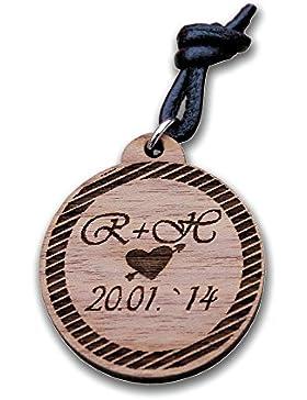 Schlüsselanhänger graviert Kreis aus Nussbaum Holz mit Wunsch-Gravur