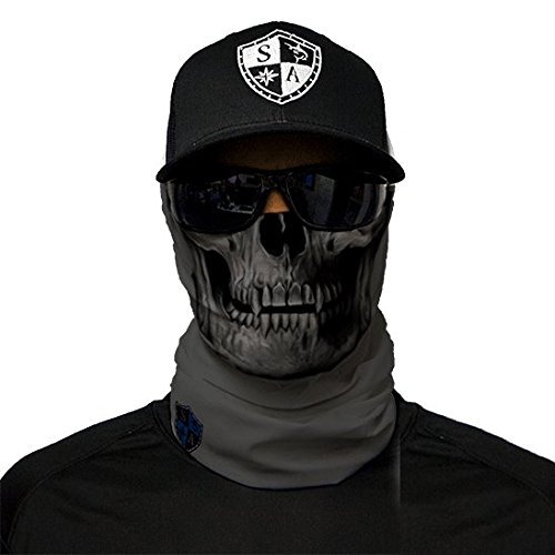 SA Fishing Company Face Shield Sturmhaube *viele verschiedene Designs* Multiunktionstuch Maske Fishing Totenkopf Schal Skull Bandana Gesichtsmaske Halstuch Ski Motorrad Paintball Halloween Maske (Grey Skull)