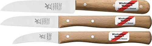 3er Set Gemüsemesser, kleines Küchenmesser, Schälmesser, Windmühlenmesser Klassiker klein -
