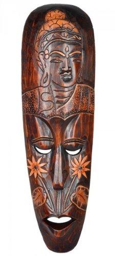 Maske mit Buddha, wahlweise in 50 cm oder 100 cm, Holz-Maske aus Bali, Wandmaske, Grösse:ca. 50 cm