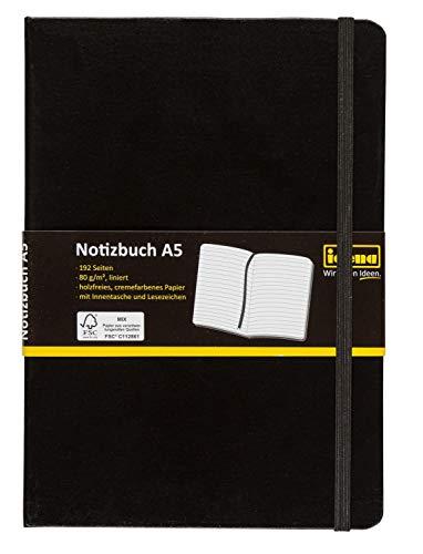 Idena 209284 Notizbuch FSC-Mix, A5, liniert, Papier cremefarben, 96 Blatt, 80 g/m², Hardcover in schwarz, 1 Stück