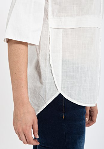 MEXX Kurzarmbluse mit längerem Rückenteil Damen Trompetenärmel Casualmode MX3002106 Offwhite