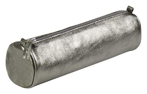 Clairefontaine 8690C Schlampermäppchen (mit Perlmutt-Effekt rund, 5,5 x 22cm, praktisch und robust, aus Leder) 1 Stück graphit - Graphit Leder