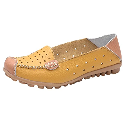 Heheja Femme Creux Confort Mocassins Loisir Plates Loafers Bateau Chaussures Jaune