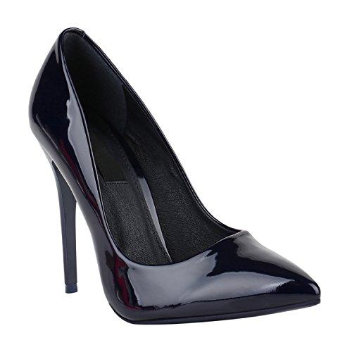 Stiefelparadies Elegante Damen High Heels Spitze Pumps Lack Stiletto Samt Glitzer Nieten Abend Business Schuhe 142128 Dunkelblau Lack 35 Flandell
