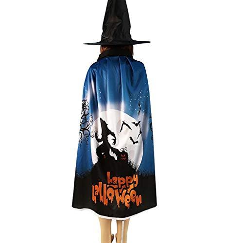 Feytuo Damen/Herren Halloween Mantel Requisiten, Fledermaus Kürbis Muster Cape Baldachin Hexenhut Set
