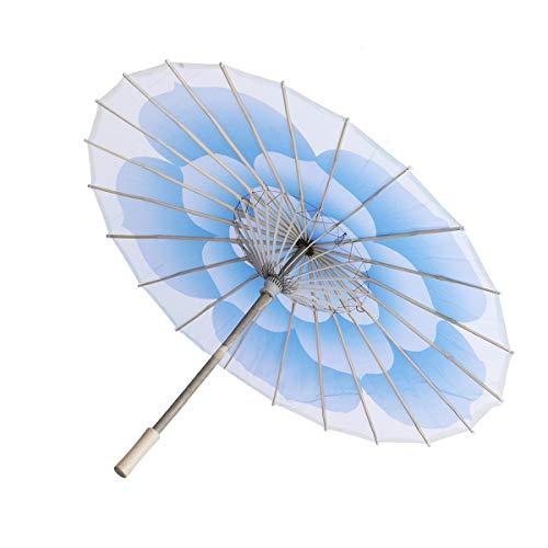 SUPVOX Impermeable Hecho a Mano japonés Chino Aceite Papel Paraguas sombrilla de bambú Impresa Flor Paraguas (Azul)
