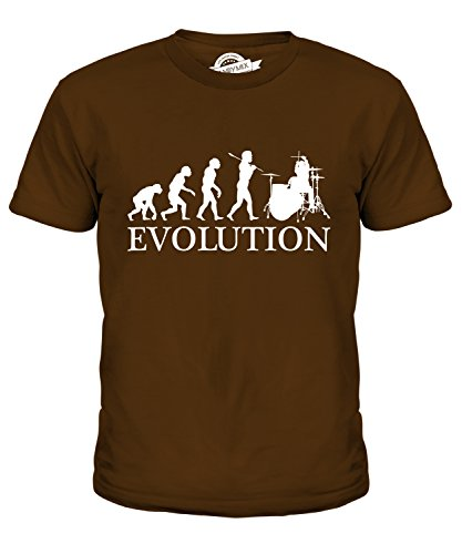 Candymix Drummer Evolution of Man Unisex Kids T Shirt Boys/Girls/Toddler/Children T-Shirt, Age 12, Colour Brown