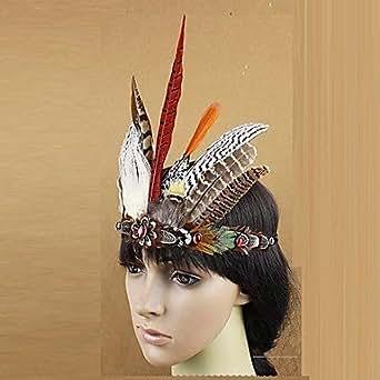 indien natif oiseaux sauvages plume carnaval bandeau