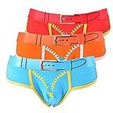 Encounter Herren Unterwäsche Unterhosen Slips Sportslips Briefs aus Baumwolle in vielen Farben(Rot+Blau+Orange, S)