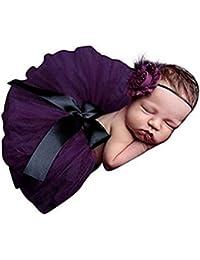Mode unisexe nouveau-né bébé fille Tenues Photographie Props Nœud coiffe Jupe Tutu Violet