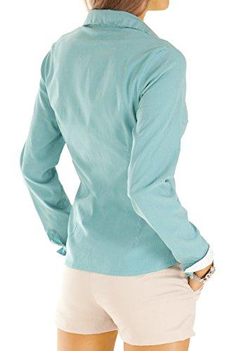 Bestyledberlin Damen Blusen gestreift, elegante Stretch Tops, Oberteile langarm t27z Petrol