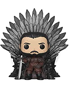 Funko- Pop Deluxe: Game of S10: Jon Snow Sitting on Iron Throne Figura Coleccionable, Multicolor (37791)