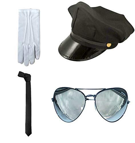 Style Wise Fashion Erwachsenen-Flieger-Kostüm-Zubehör, Chauffermütze, Handschuhe, Krawatte, Brille Set Gr. onesize, Chauffeur Accessory Set