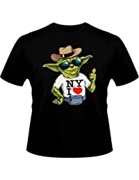 T-Shirt New-York I love - Parodie de Yoda de Star Wars - New York I Love ! - T-shirt Homme Noir - Haute Qualité (908)