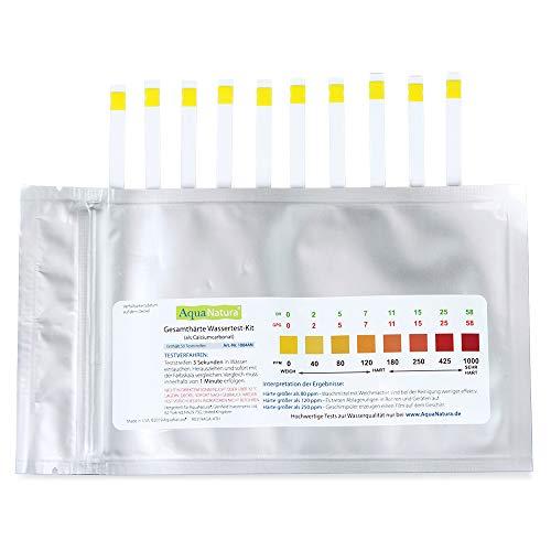 Aquanatura Trinkwasser Wasserhärtetest Härte/Gesamthärte (10 Teststreifen) zuverlässige und schnelle Ergebniss