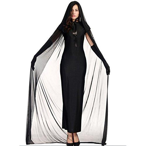 Kostüme Halloween-Geist-Hexe-Set für Frau Adult Party / Dame-Abendkleid Größe XL Schwarz -Juleya