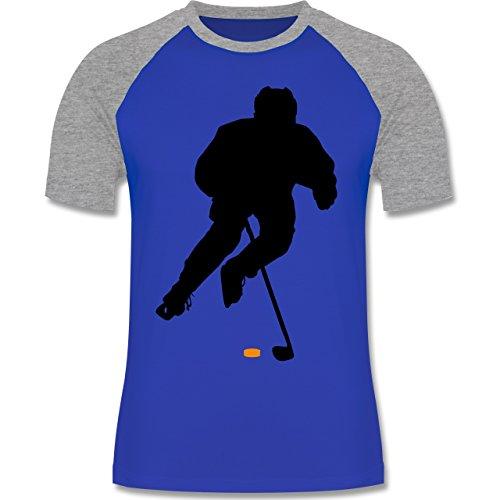Shirtracer Eishockey - Eishockey Spieler - Herren Baseball Shirt Royalblau/Grau meliert