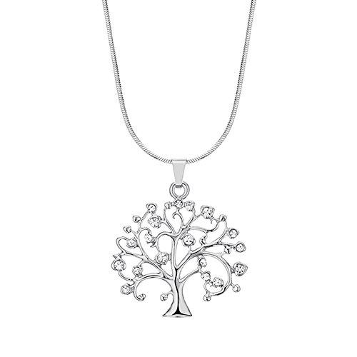 AIUIN Damen Kette Modisch Halskette Baum des Lebens Anhängerit Kristallen Geschenkidee für Mädchen Damen Schmuck,Mit Einer Schmucktasche (Silber)