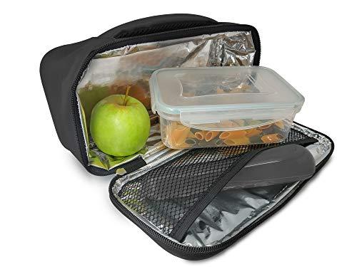 NERTHUS Lunch Bag Rectangular Fiambrera Bolsa termica Porta Alimentos Individual, Gris 1 Bolsillo, Única