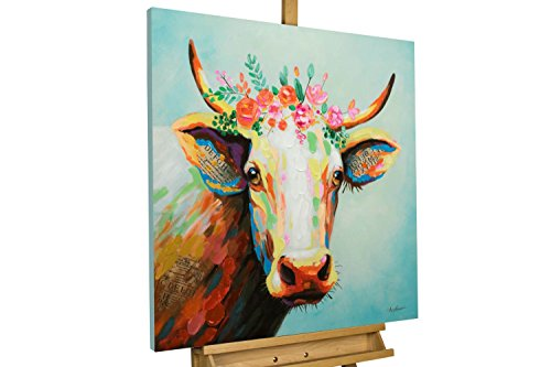 KunstLoft® Acryl Gemälde 'Prinzessin Lotta' 80x80cm | original handgemalte Leinwand Bilder XXL | Kuh Tier Bunt Bunt Braun | Wandbild Acrylbild Moderne Kunst einteilig mit Rahmen (Rahmen-kunst)