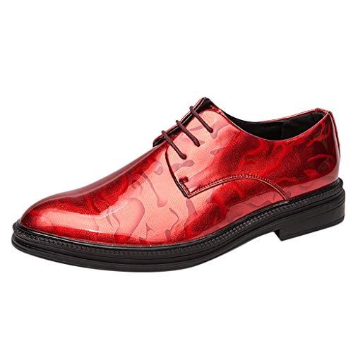 YU'TING - Scarpe Stringate Basse Oxford Uomo Scarpe Stringate Eleganti Derby Uomo Nero/Rosso/Oro