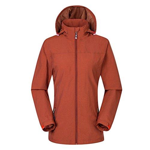Zhuhaitf Salut-qualité Mens Womens Sports Respirant Windproof Waterproof Unisex Hooded Jackets Outwear Outdoor Climbing Orange-Womens