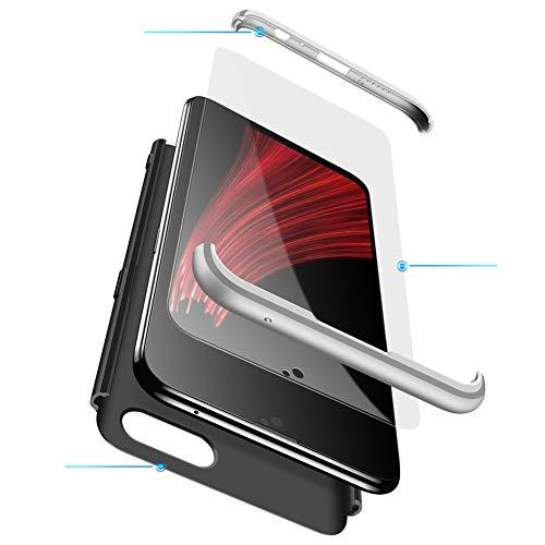 MEVIS Oppo F7 Hülle,360 Grad hülle Fullbody case+(1*Hartglas Glasfilm Schutzfolie) 3 in 1 Ultra dünner pc Hardcase Scratch und Shockproof-Silber schwarz