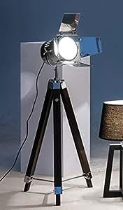 exklusive studioleuchte stehlampe stativ dreibein stehlampe designerleuchte holz metall h140cm. Black Bedroom Furniture Sets. Home Design Ideas