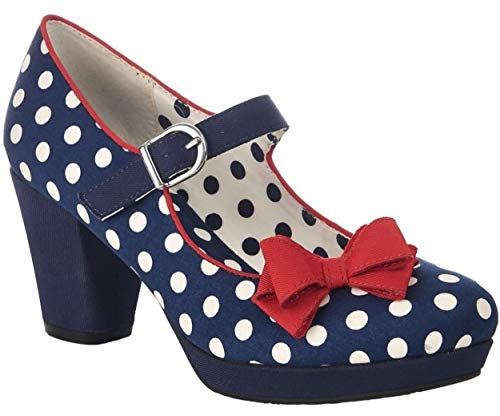 92120e10a53804 Ladies RUBY SHOO Crystal Navy Spots Vintage Inspired Retro Shoes 09224-UK 5  (EU