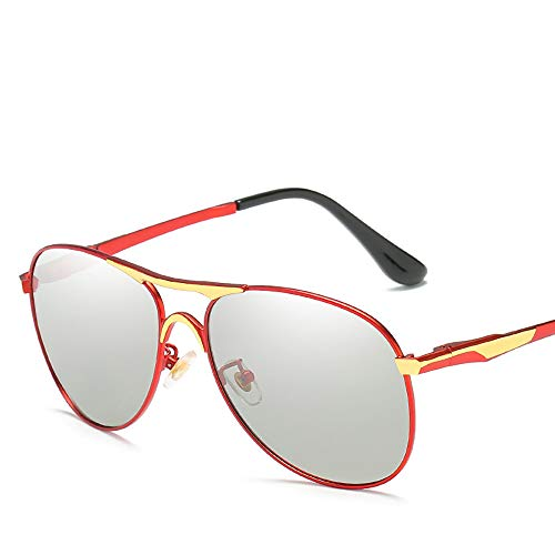 ZUEN Farbwechselnde Sonnenbrille Polarisierter, blendfreier UV400-Spiegel Männliche und weibliche Modelle für Metall Å Yang-Spiegel zur Verringerung der Ermüdung der Augen,Silver