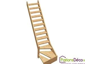 Escalier de meunier 1/4 tournant gauche en sapin NORMANDIE