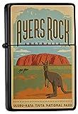 LEotiE SINCE 2004 Feuerzeug Schwarz Benzinfeuerzeug Sturmfeuerzeug Metallfeuerzeug Ayers Rock Australien Känguru National Park