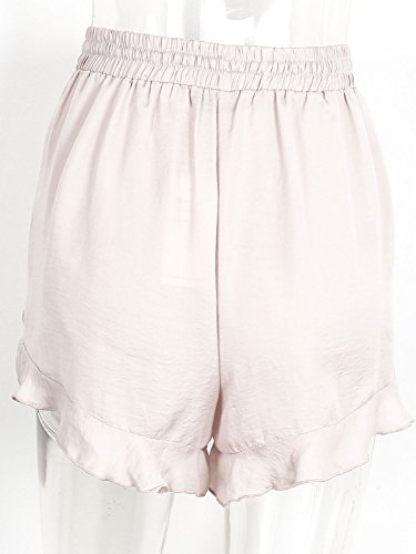 Simplee Apparel Damen Sommer Shorts Chiffon High Waist Rüschen Frill Retro Strand Shorts Hot Pants Elastische Taille Shorts Nude Rosa