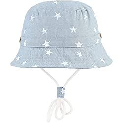Cloud Kids Chapeau Bob Bébé Enfant Chapeau de Soleil Unisexe en Coton Pliable Protection Anti-UV Solaire Plage Été Voyage (Bleu clair, 50CM pour 1-2 ans)