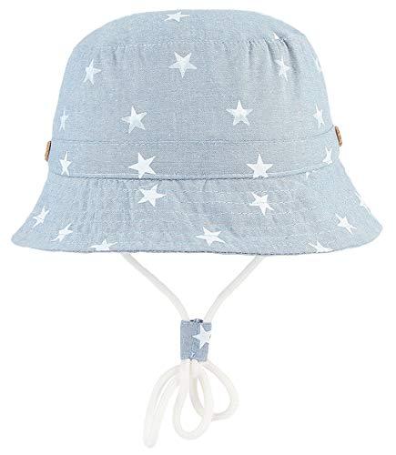 DEMU Dinosaurier Muster Kinderhut Fischerhut Sonnenhut Strandhut Babymütze Sonnenschutz (Hellblau Sterne, Hut Umfang ()