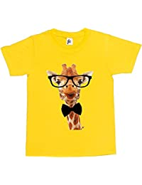 Fancy A Snuggle Long Neck Giraffe Wearing Hipster Glasses & Bow Tie Kids Boys / Girls T-Shirt